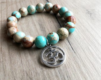 AUM bracelet, OM bracelet, Yoga bracelet, Spiritual bracelet, yoga jewelry, Boho bracelet