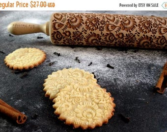 ON SALE Folk - Embossing rolling pin, laser engraved rolling pin, Polish folk, folk flowers,  Folklor flower pattern, rolling pin for a gift