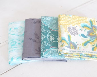 4 fat quarters from Art Gallery Fabrics Lilybelle and coordinates, cotton fabric yellow, teals, grey