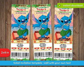 Lilo and Stitch Invitation - Printable ticket invite, decoration, favors - Text Editable - INSTANT DOWNLOAD