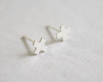 Tiny X Stud Earrings,Cross earrings , Sterling Silver Posts, Geometric Studs,Shiny X Plus earrings