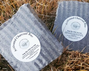 Activated Charcoal Face and Body Sea Salt Soap Bar | Approximately 5 oz | Vegan Soap | Palm Oil Free