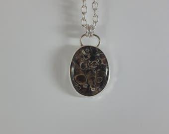 Turritella Agate Pendant . Sterling Silver Pendant . Handmade Pendant