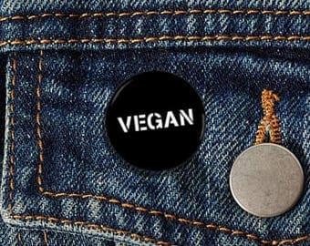 """Vegan 1"""" Pinback Button - Vegan, Vegetarian, Animal Rights, Animal Liberation, Veganism, Activism"""