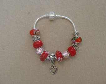 Bracelet beads murano charms red Pink Silver antiqued Heart Rhinestone