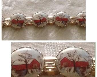 On Sale Lovely Porcelain Painted Link Bracelet