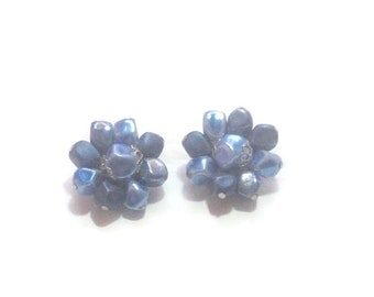 Vintage Blue Beaded Clip Earrings