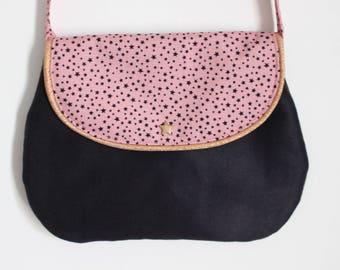 Chic pouch black girl and stars, edged with gold rose