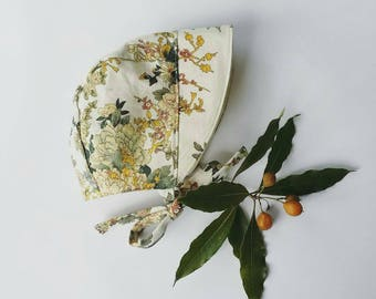 Floral linen baby bonnet