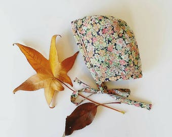 Floral cotton baby bonnet