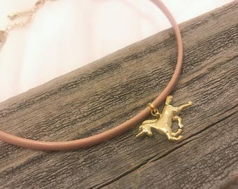 Light pink mauve choker with gold unicorn pendant