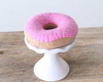 Felt Doughnut - Felt Play Food - Felt Pink Doughnut - Felt Food - Pretend Doughnut - Pretend Food - Play Food - Felt Donut - Pink Doughnut