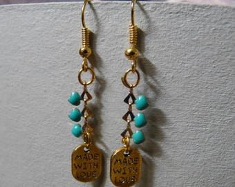 Earrings chain heart & made with love