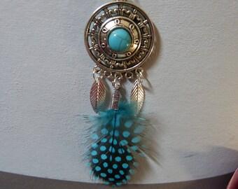 Ethnic turquoise pendant & feather