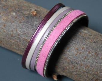 Stylish bracelet leather & faux leather