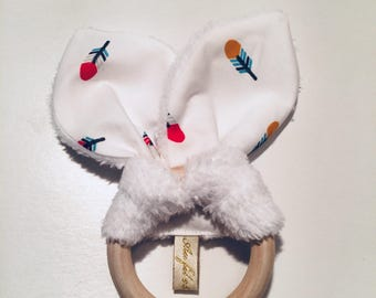 Teether / montessori / rattle / gift / newborn / baby /baby /newborn / bunny ears. French manufacturing