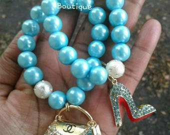 Turquoise High Heels and Purse Bracelets