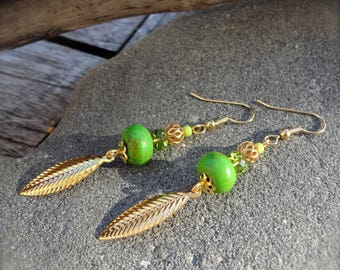 Earrings dangle, Bohemian, fresh, green and gold, feathers