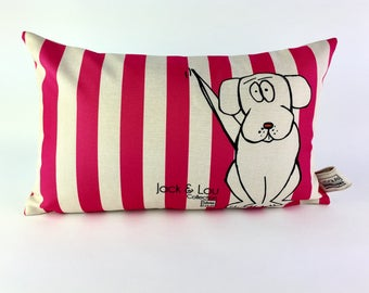 Decorative pillow / dog/striped pink cushion / pillow pet / high quality fabric / 23/c13-hand drawing