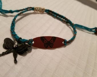Butterfly charm braided bracelet