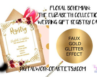 Gift Registry Card Template, Printable Registry Card,DIY Rustic Wedding Gift Registry Card Printable,Editable PDF Template, Floral Boho, #LC