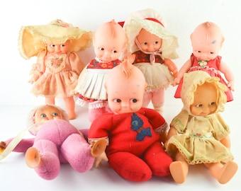 """1960s 1980s Vintage Lot of Kewpie Dolls Window Cling 8"""" Stuffed 10"""" Cameo Jesco Cupid Cupie Doll O'Neill"""