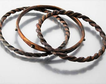 Set of Three Copper Bangles, Twisted and Forged