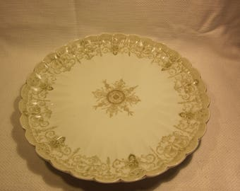 Antique Mark and Gutherz Carlsbad, Austria 11 inch platter, gorgeous green and white!