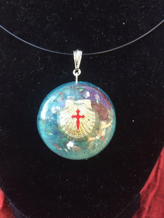Camino De Santiago Pilgrim's Orgonite® Pendant- Knights Templar Buen Camino Orgone Energy Necklace- Scallop Shell Orgone Energy Charm