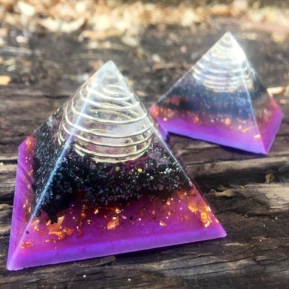 Orgonite® Pyramid Set of 2- Astral Travel & Negative Spirit Protection Orgone Pyramid- Crystal Ball Chakra and Reiki Energy Orgone Pyramid