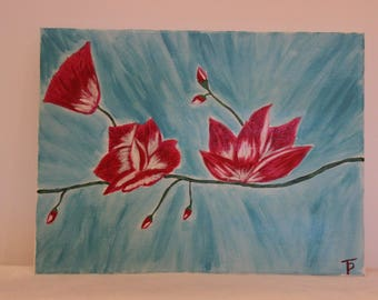 handmade lotus flower painting