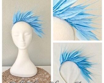 Ladies blue feather headband fascinator