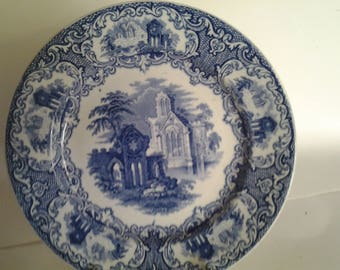 """Abbey by Maastricht Regout blue and white 8 3/4"""" plate"""