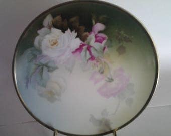 Hand painted roses plate Bavaria signed Parry