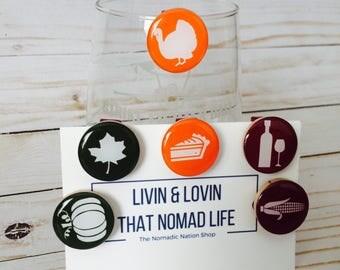 Thanksgiving Decor- Thanksgiving Barware- Thanksgiving Glass Tags- Fall Decor