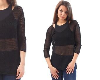 Sheer Mesh Shirt 90s Black Tee Shirt Beach Cover Up Cotton Crochet Knit Grunge Shirt 1990s Medium