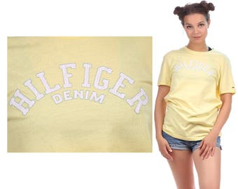 HILFIGER T Shirt 90s Pastel Yellow White Slpellout Logo Shirt Cotton Tee Unisex Short Sleeve Activewear Top Medium