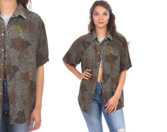 Vintage HAWAII Shirt 80s FLORAL Tropical Print Hawaiian 1980s Oversized Moss Green Grey Black Ibiza Short Sleeve 90s Summer Shirt  Large Xl