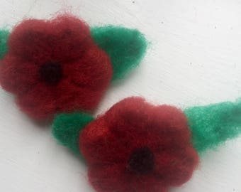 Needle felt poppy brooch ornament Remembrance Day