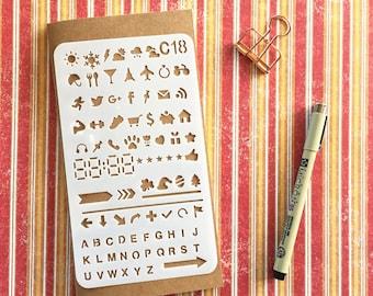 Bullet Journal Stencil #C18 - Planner, Journal, Craft, Scrapbooking, Decoration