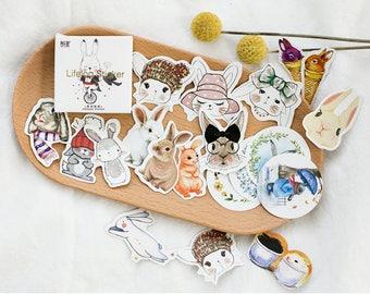 45 Pieces Cute Bunnies Stickers  - Planner, Journal, Craft, Scrapbooking, Decoration