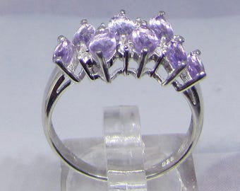 Size 60 8 amethysts and sterling silver ring
