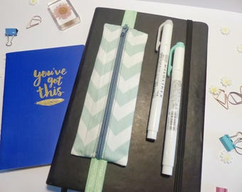 Chevron pencil case, back to school stationary, elastic pouch, elastic pencil case, notepad pencil case, green blue dot pencil case