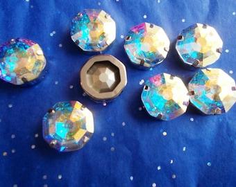 gorgeous hexagonal Aurora Borealis AB Swarovski Crystal cabochon