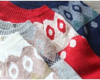 Festival Wool Sweater Beige Red Grey Blue Wool Pullover Women Small Size