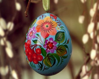 "Ukranian Easter egg ""Flowers"" in blue, Petrykivka painting"