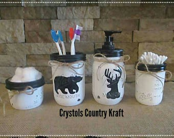 Bear and deer decor bathroom set, soap jar, toothbrush jar, storage jars. Mason jar art . cabin decor . lodge , black and white set