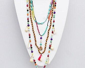 Multitassel Bohemian, Multistrand beads, shells,  Long Necklace, Maala beads, beach jewelry.