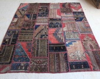 6'7''x8'5'' Vintage Patchwork Rug, Vintage Anatolian Rug, Boho Modern Decor