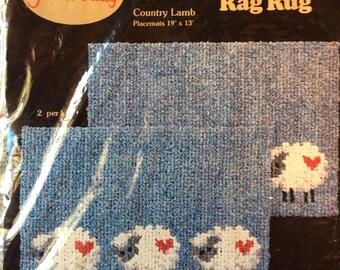 Rag rug lamb pattern